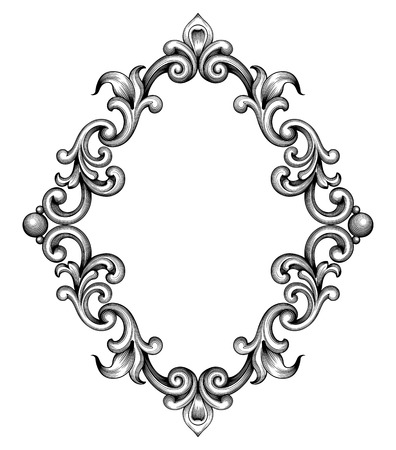 Vintage baroque frame leaf scroll floral ornament engraving border retro pattern antique style swirl decorative design element black and white filigree vector