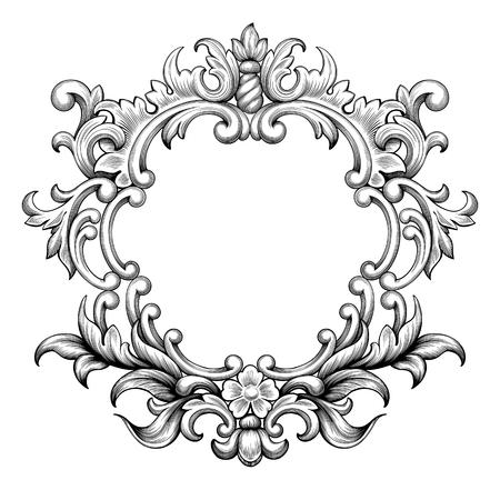 Vintage baroque frame border leaf scroll floral ornament engraving ...