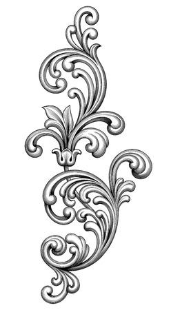 Illustration pour Vintage Baroque Victorian frame border monogram floral ornament leaf scroll engraved retro flower pattern decorative design tattoo black and white filigree calligraphic vector heraldic shield swirl - image libre de droit