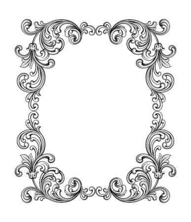 Ilustración de Vintage Baroque Victorian frame border monogram floral ornament leaf scroll engraved retro flower pattern decorative design tattoo black and white filigree calligraphic vector heraldic shield swirl - Imagen libre de derechos