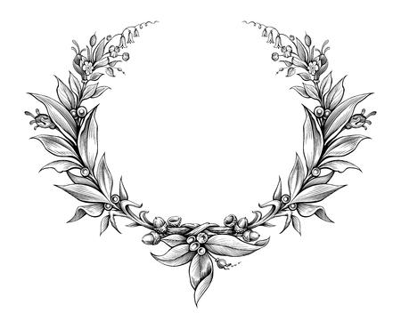 Illustration pour laurel wreath vintage Baroque  frame border monogram floral heraldic shield ornament leaf scroll engraved retro flower pattern decorative design tattoo black and white vector - image libre de droit