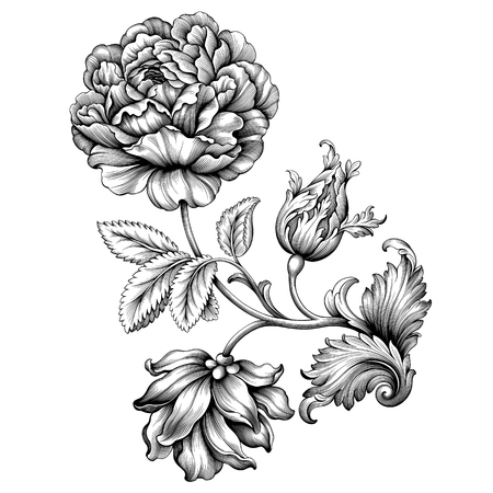 Ilustración de Rose flower vintage Baroque Victorian floral ornament frame border leaf scroll engraved retro pattern decorative design tattoo black and white filigree calligrapic illustration. - Imagen libre de derechos