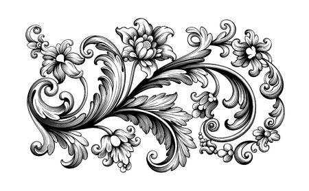 Ilustración de Flower vintage scroll Baroque Victorian frame border rose peony floral ornament leaf engraved retro pattern decorative design tattoo black and white filigree calligraphic vector - Imagen libre de derechos