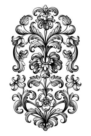 Illustration pour Flower vintage scroll Baroque Victorian frame border lily peony floral ornament leaf engraved retro pattern decorative design tattoo black and white filigree calligraphic vector - image libre de droit
