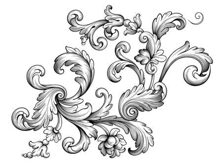 Illustration pour Vintage Baroque floral frame border Victorian flower ornament scroll engraved retro pattern decorative design tattoo black and white filigree calligraphic vector heraldic shield swirl leaf monogram - image libre de droit