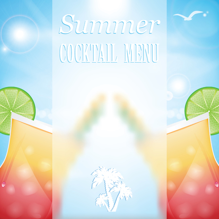 Design a menu for summer drinks.Summer cocktails on the background of the sea