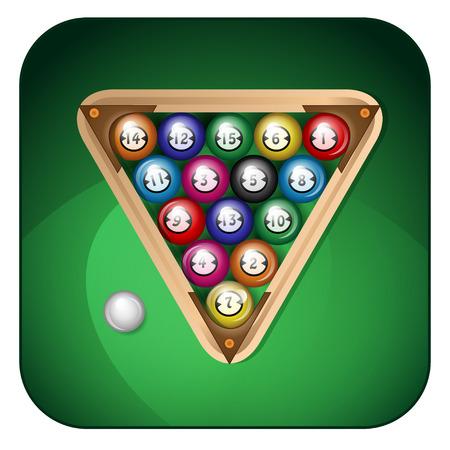 billiard balls on a green background