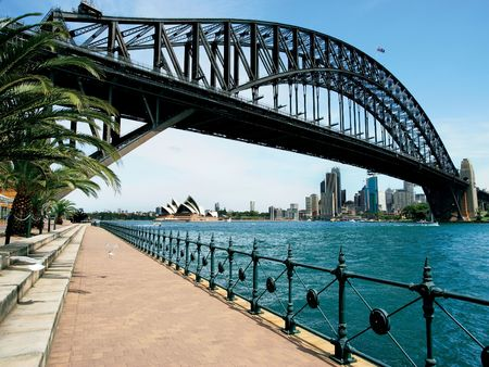 Walking on the path that leads beneath the Sydney Harbour Bridge in Australia.