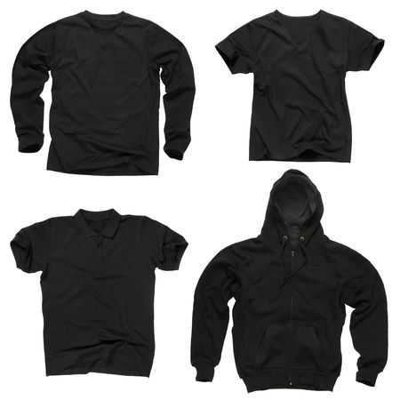 Photograph of four wrinkled blank black shirts, long sleeve shirt, golf shirt, V-neck and hoodie. path included. Ready for your design or logo.