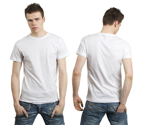Young male with blank white t-shirt, front and back. Ready for your design or logo.