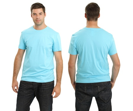 Young male with blank light blue t-shirt, front and back. Ready for your design or artwork.