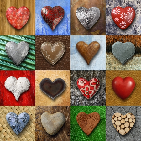 Photo pour Photos of heart-shaped things made of stone, metal and wood on different backgrounds. - image libre de droit