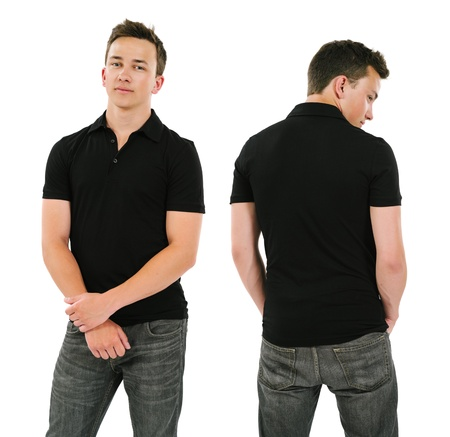 Photo of a young male posing with a blank black polo shirt   Front and back views ready for your artwork or designs