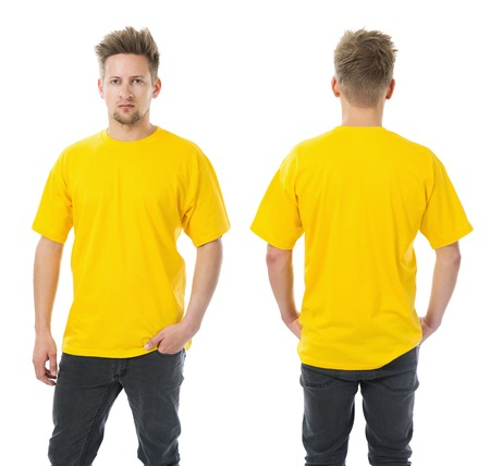 Photo of a man wearing blank yellow t-shirt, front and back. Ready for your design or artwork.
