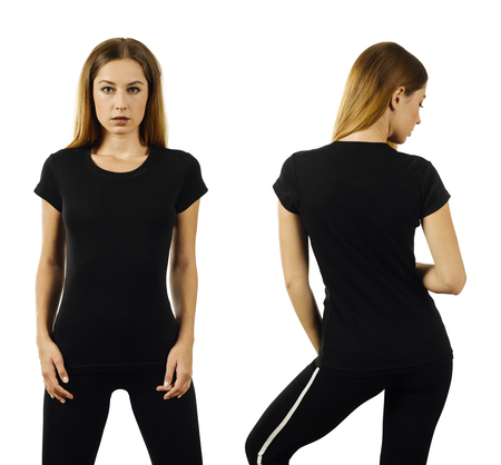Photo pour Photo of a woman posing with a blank black t-shirt ready for your artwork or design. - image libre de droit