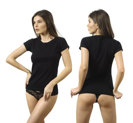 Photo pour Photo of a beautiful young woman wearing a blank black t-shirt front and back views. - image libre de droit