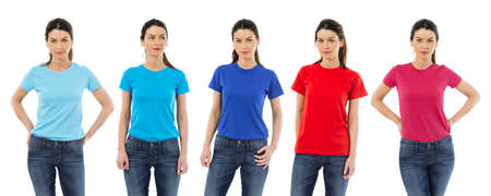 Photo pour Photo of a woman posing with a blank t-shirts ready for your artwork or design. - image libre de droit