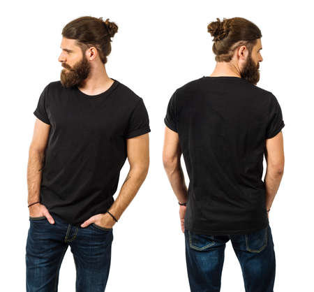 Photo pour Young man with long hair and beard wearing blank black shirt, front and back. Ready for your artwork. - image libre de droit