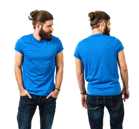 Photo pour Young man with long hair and beard wearing blank blue shirt, front and back. Ready for your artwork. - image libre de droit