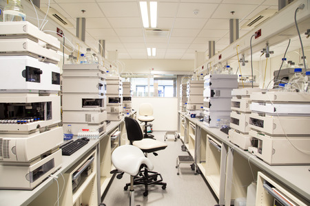 Photo for Research laboratory, no people, clean white, horizontal - Royalty Free Image