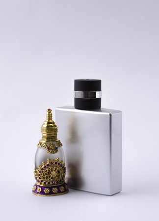 male and female perfume bottles