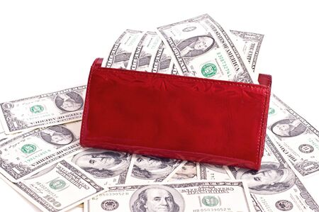 Dollar notes and red wallet, white background