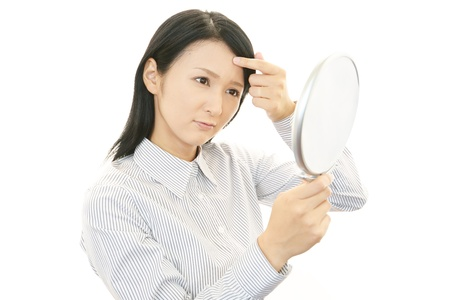 Woman uneasy look