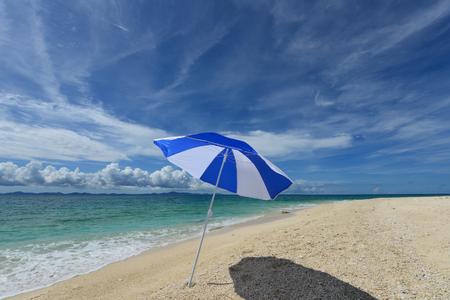 Umbrella at Beautiful beach in Okinawa