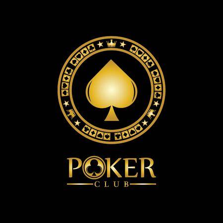 Illustration for Gold King Poker logo design vector on black background - Royalty Free Image