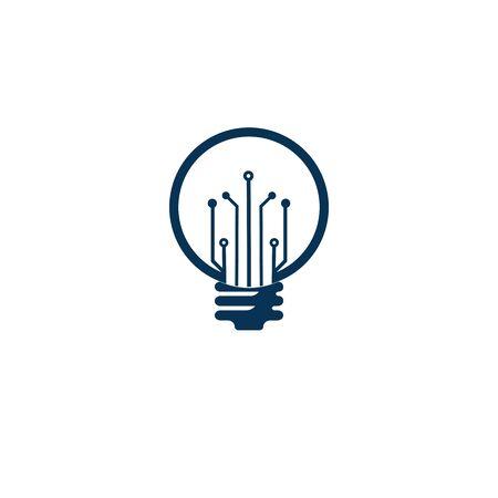 Illustration pour Light bulb idea icon with circuit board inside. - image libre de droit