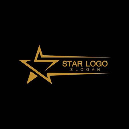 Illustration pour Gold Star Logo Vector in elegant Style with Black Background - image libre de droit