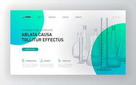 Pharmaceutical landing page template. Modern web page design concept layout for website. Vector illustration. Brochure cover, web banner, website slide.