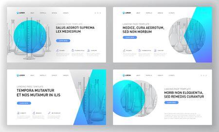 Pharmaceutical landing pages templates set. Modern web page design concept layout for website. Vector illustration. Horozontal brochure cover, web banner, website slide.