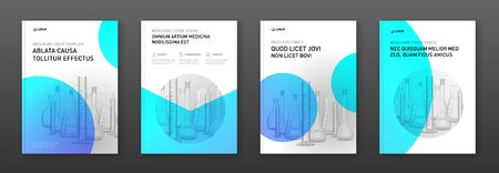 Pharmaceutical brochure cover design layout with flasks vector illustration. Good for medical annual report, laboratory catalog design, company profile