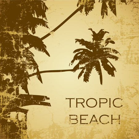 grunge tropic beach palms on the yellow background