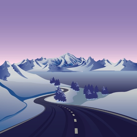 winter road to the snow mountain