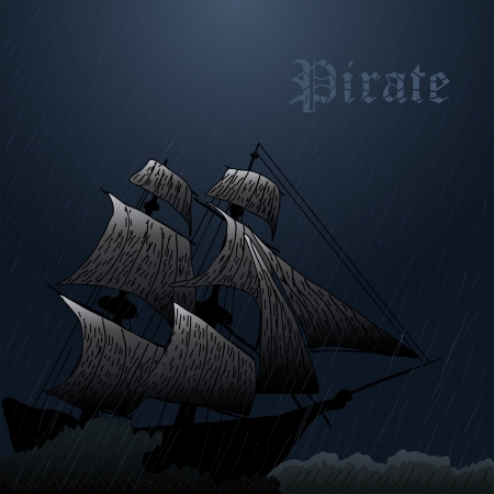 grunge mist pirate ship in ocean at storm
