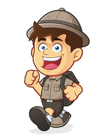 Boy Scout or Explorer Boy Walking