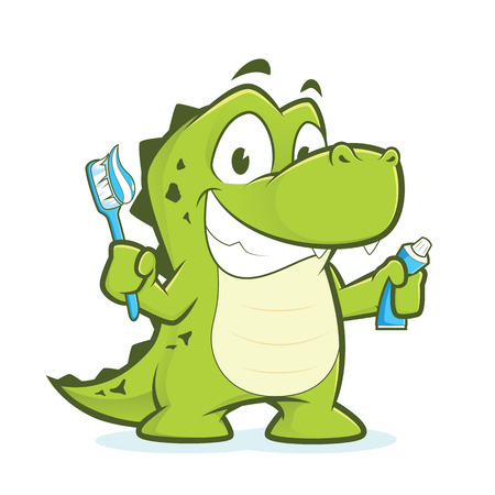 Photo pour Crocodile or alligator holding toothbrush and toothpaste - image libre de droit