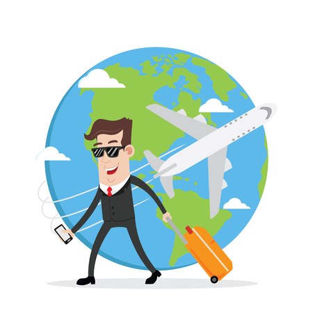 Illustration for Businessman on business trip and travel around the world - Royalty Free Image