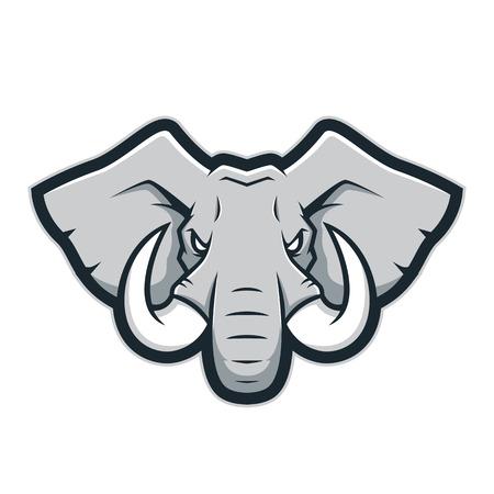 Ilustración de Elephant head mascot logo - Imagen libre de derechos