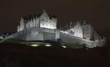 Panoramic view of the Edinburgh Castle at night, Scotland