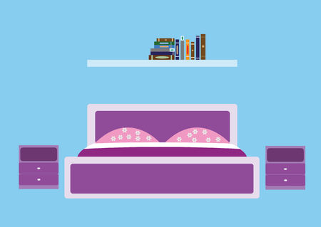 bedroom in violet tones and a shelf with books