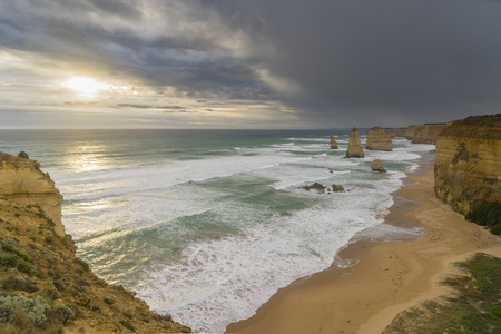 Twelve Apostles in Great Ocean Road in Australia during sunset