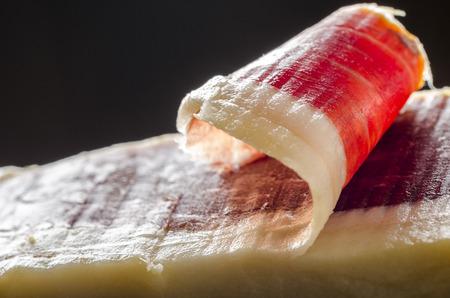 Detail of sliced iberian spanish, bellota ham. Gourmet spanish food.