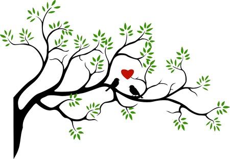 tree silhouette with bird love couple