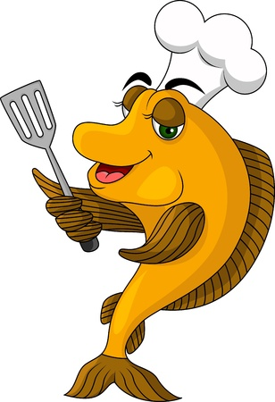 cartoon cook fish