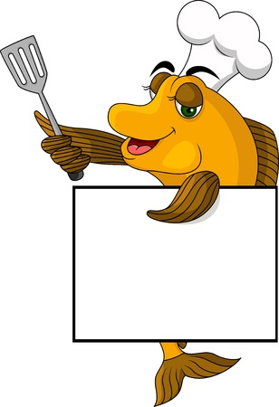 cartoon cook fish with blank sign