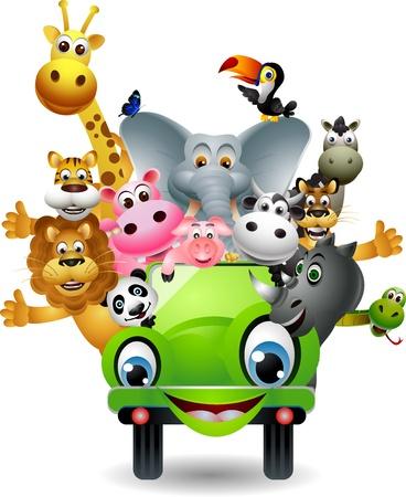 Ilustración de funny animal cartoon set in green car - Imagen libre de derechos
