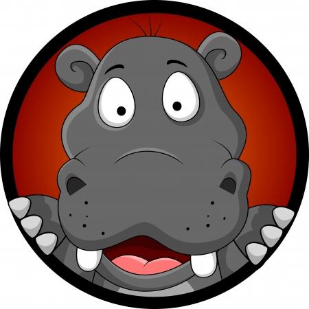 Ilustración de funny hippopotamus head cartoon - Imagen libre de derechos